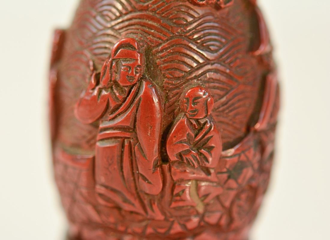 Chinese Cinnebar Vase with Base - 3