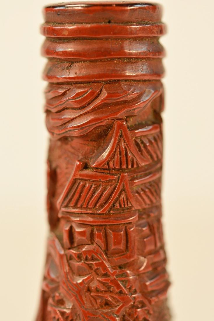 Chinese Cinnebar Vase with Base - 4