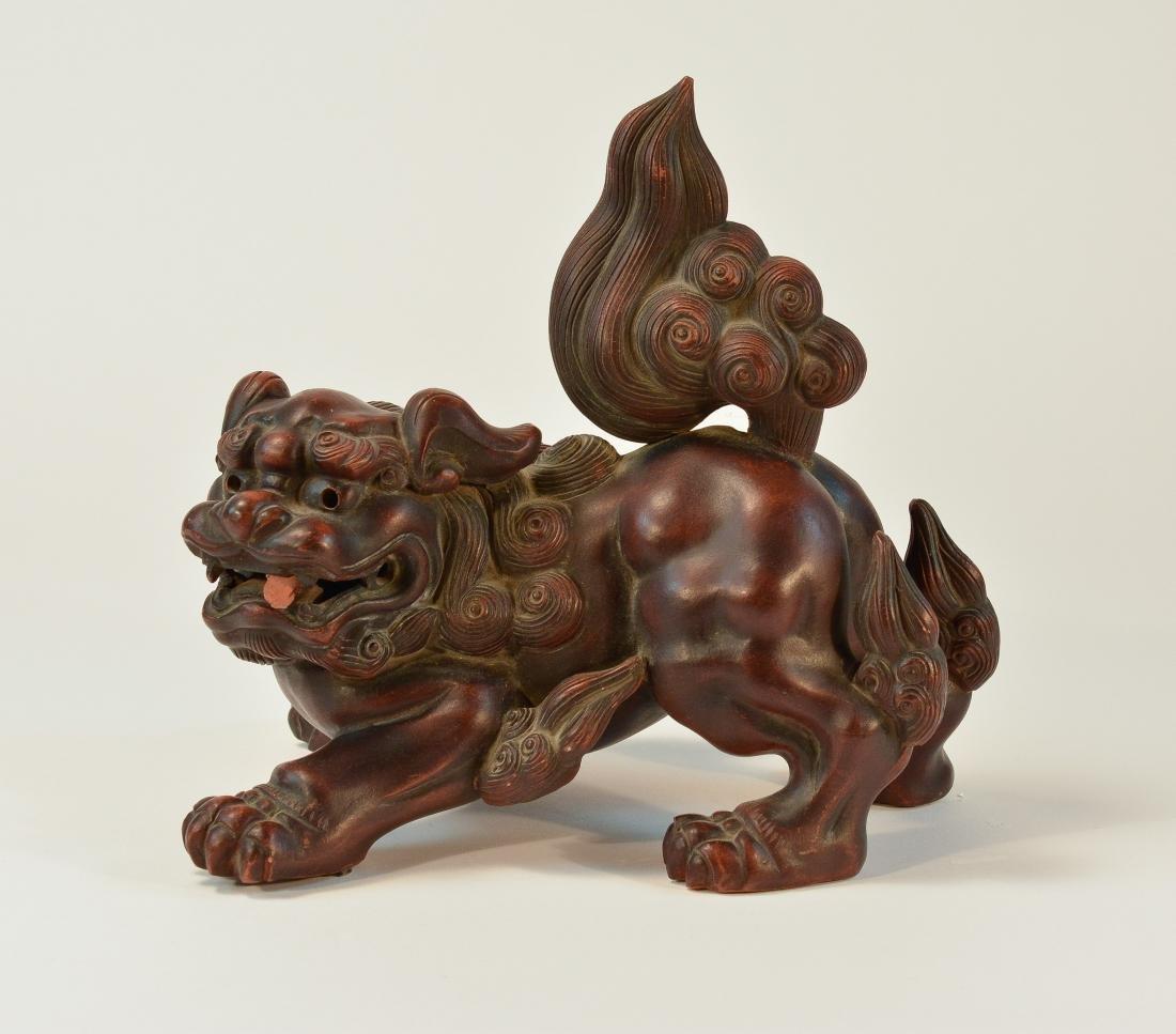 Japanese Bizen Ware Porcelain Model of Shishi Foolion