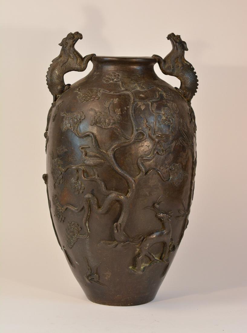 Chinese Heavy Bronze Vase of Deer and Kirin Scene -
