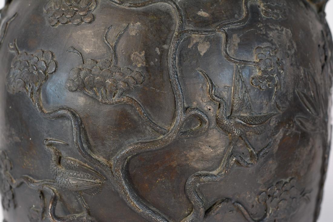 Chinese Heavy Bronze Vase of Deer and Kirin Scene - - 4