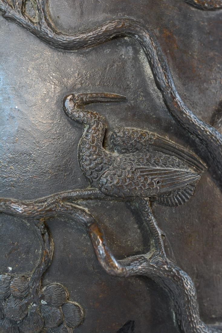 Chinese Heavy Bronze Vase of Deer and Kirin Scene - - 5