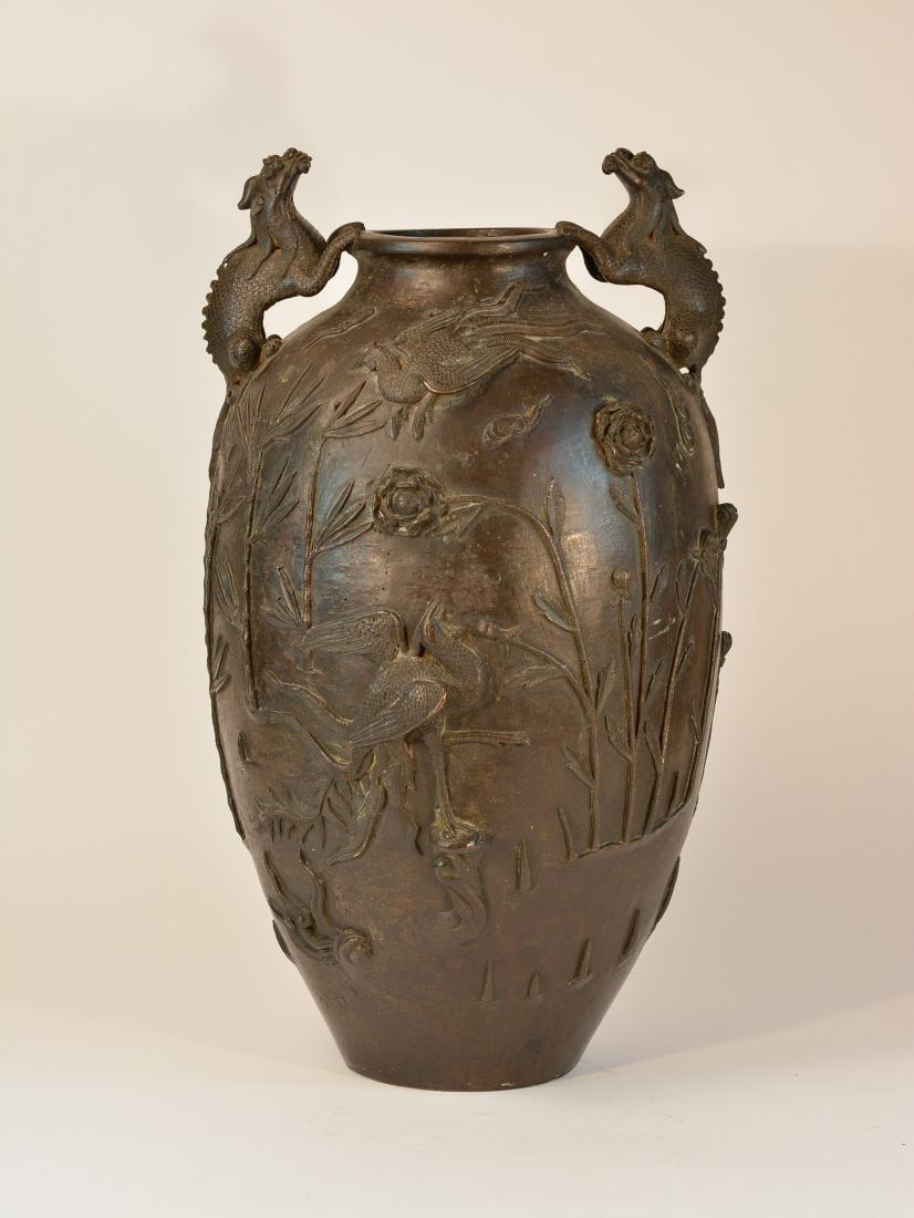 Chinese Heavy Bronze Vase of Deer and Kirin Scene - - 6