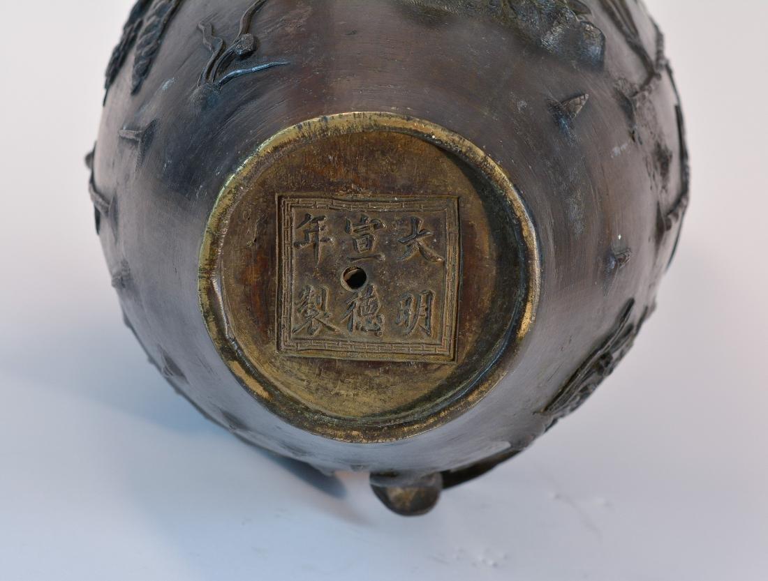 Chinese Heavy Bronze Vase of Deer and Kirin Scene - - 8