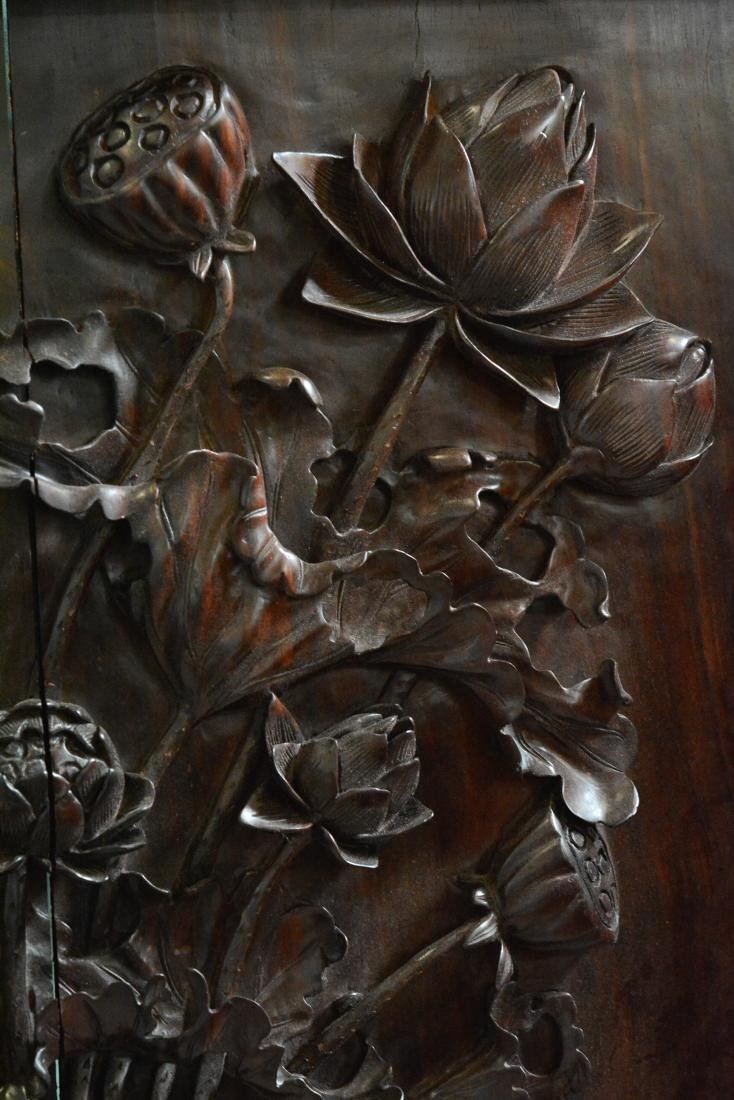 Set of Four Chinese Hardwood Wall Panel with Floral - 4