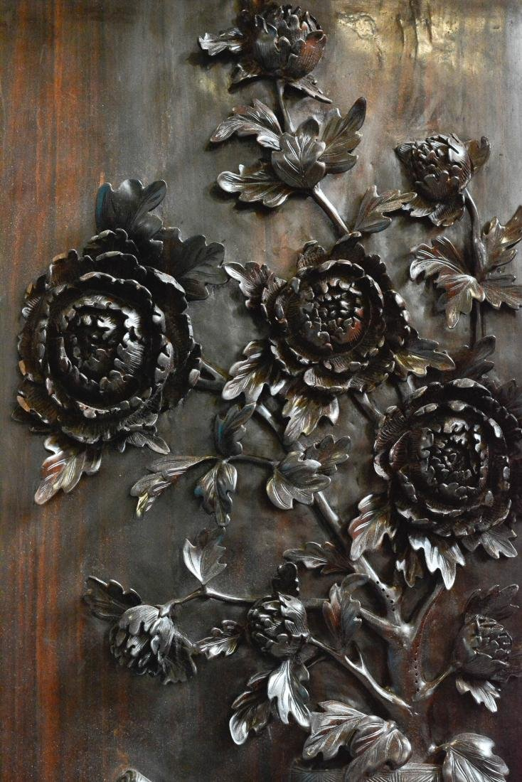 Set of Four Chinese Hardwood Wall Panel with Floral - 8