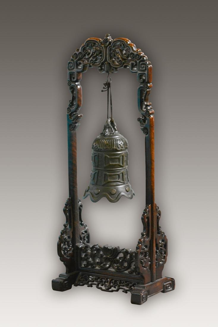 Chinese Bronze Bell with Rosewood Frame - 8