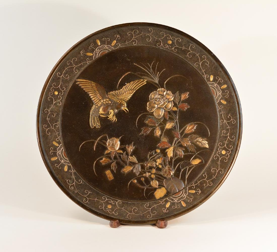 Large Japanese Bronze Mixed Metal Charger with Hawk