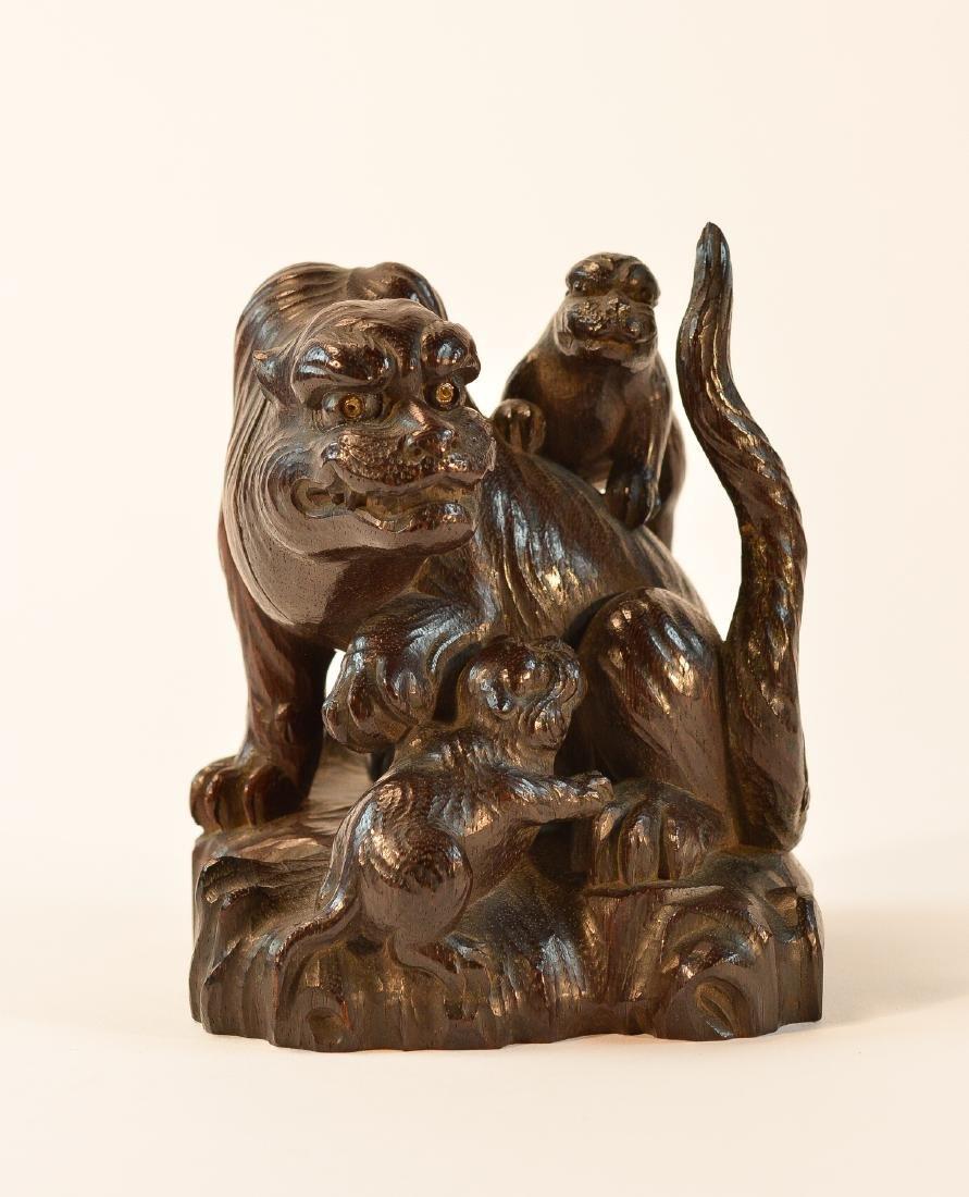 Fine Japanese Carved Wood Tiger Okimono