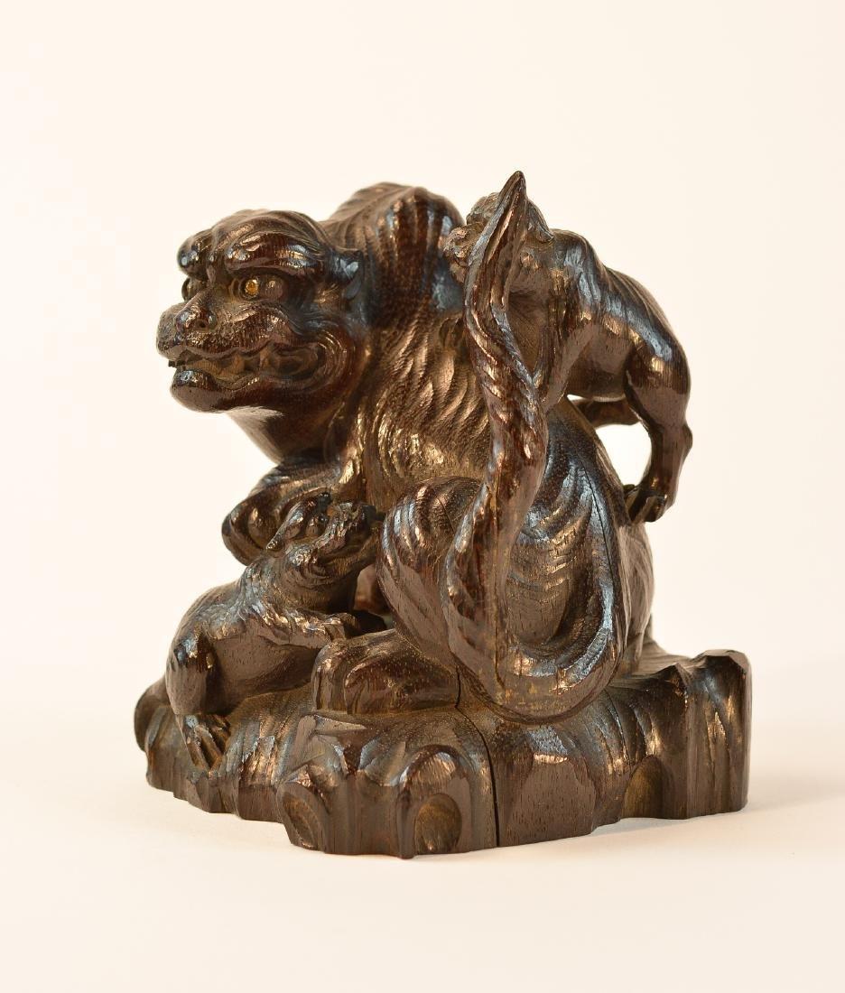 Fine Japanese Carved Wood Tiger Okimono - 2