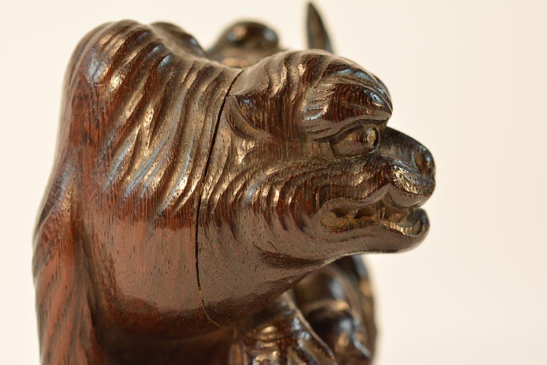 Fine Japanese Carved Wood Tiger Okimono - 8
