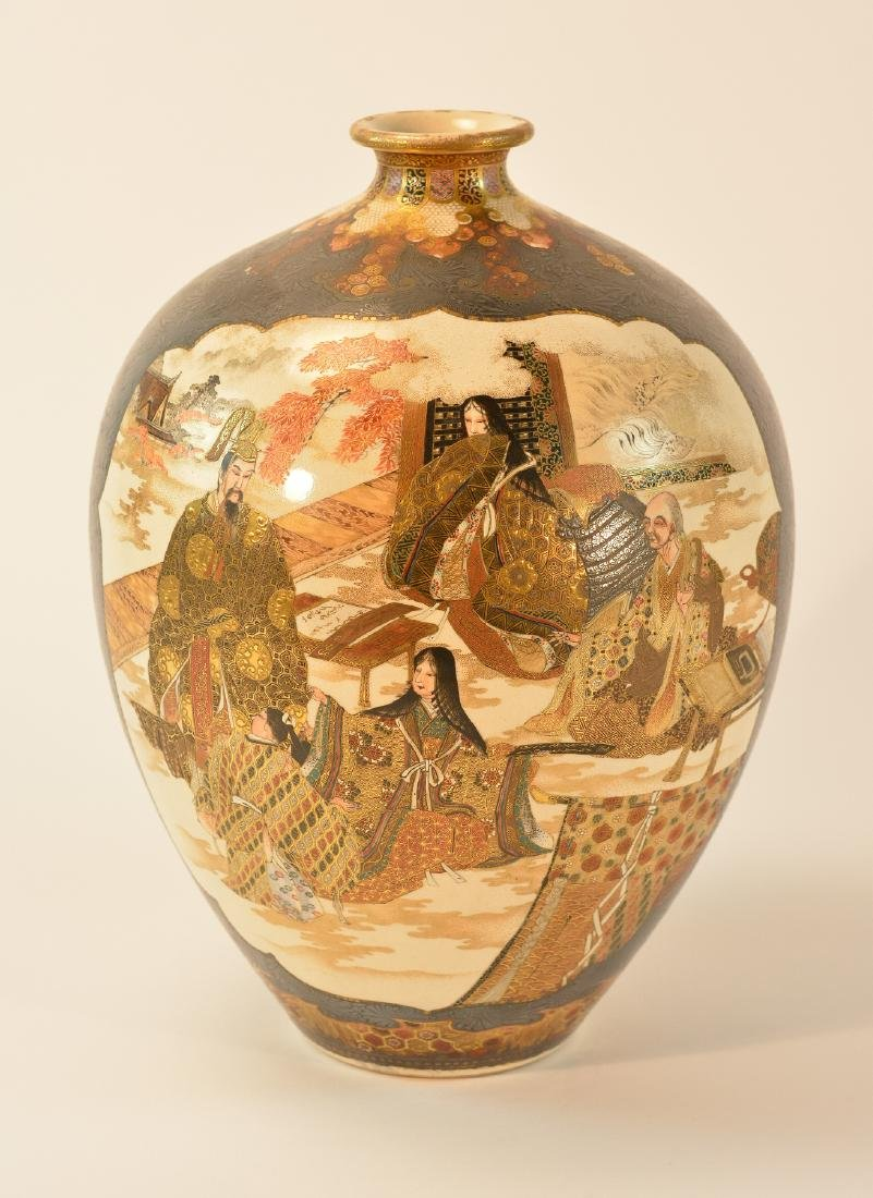 Japanese Kinkozan Satsuma Vase with Silver Overlay