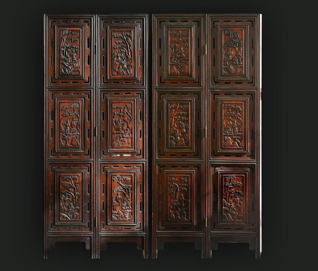 Large Chinese Rosewood Floor Screen