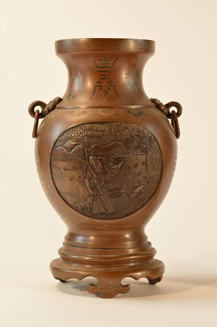 Pair Chinese Bronze Vase with Inlays - 2