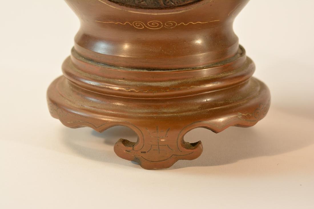 Pair Chinese Bronze Vase with Inlays - 6