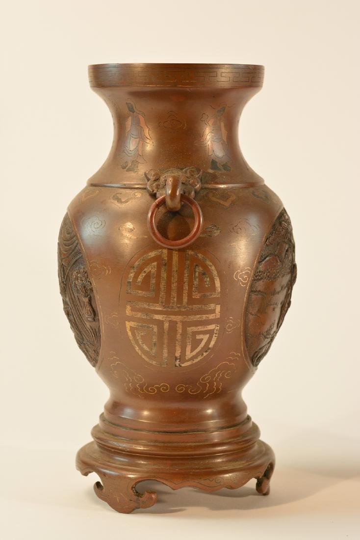 Pair Chinese Bronze Vase with Inlays - 8