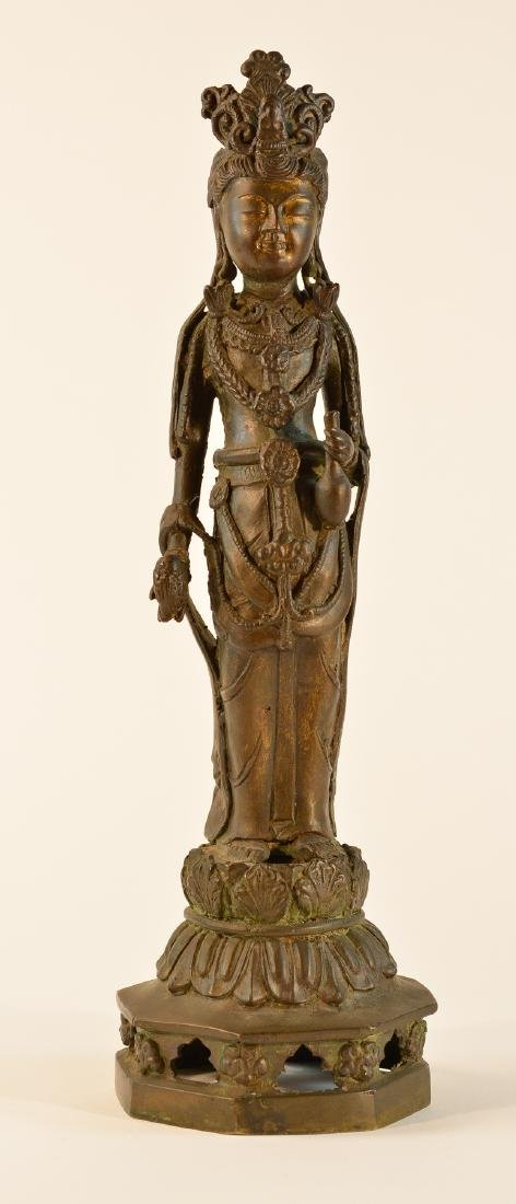 Chinese Standing Kuanyin with Parcel Gilt Face