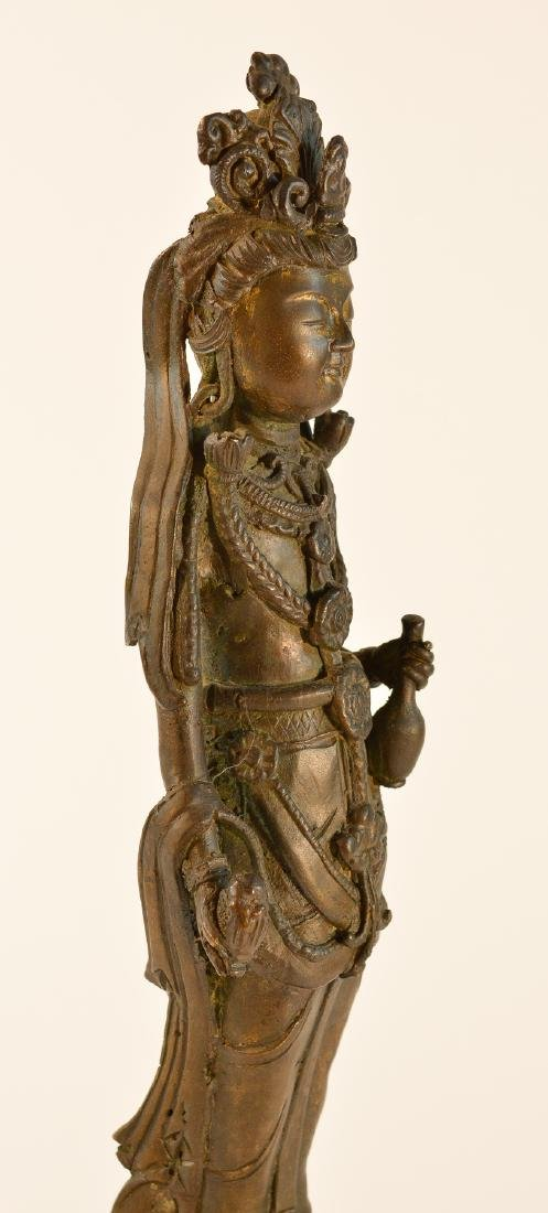 Chinese Standing Kuanyin with Parcel Gilt Face - 5