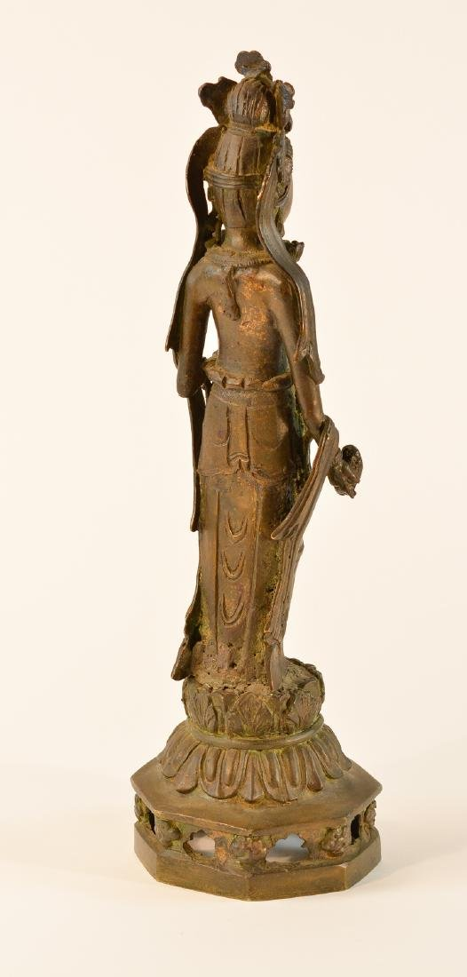 Chinese Standing Kuanyin with Parcel Gilt Face - 6