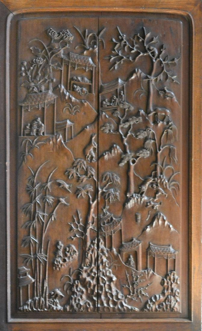 Large Chinese Hardwood Panel with Figural Scene