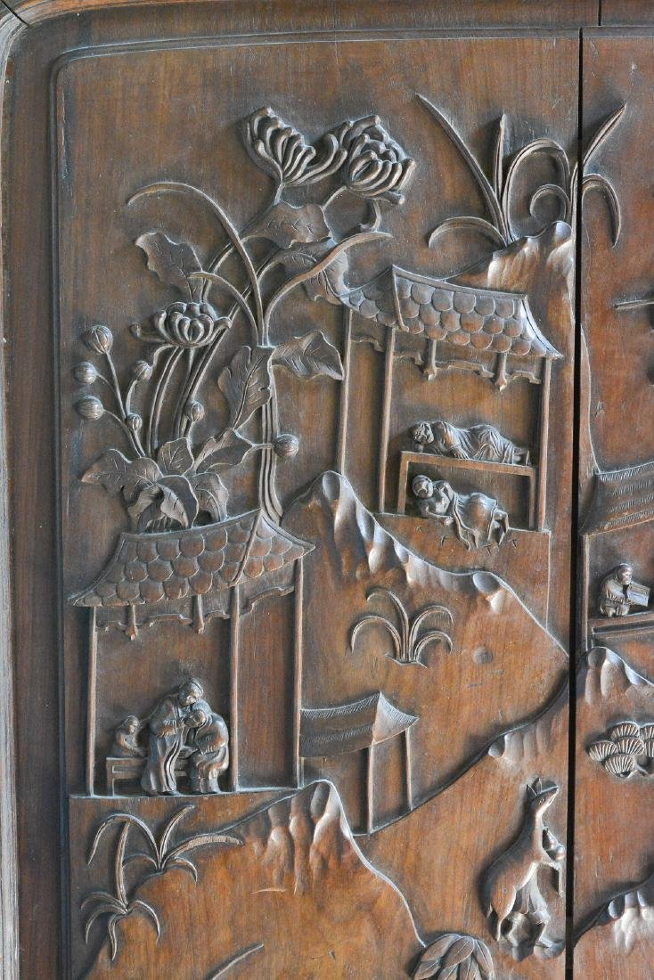 Large Chinese Hardwood Panel with Figural Scene - 2