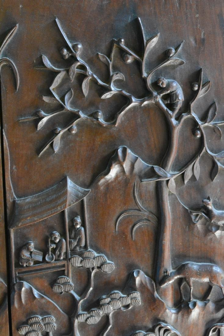 Large Chinese Hardwood Panel with Figural Scene - 3