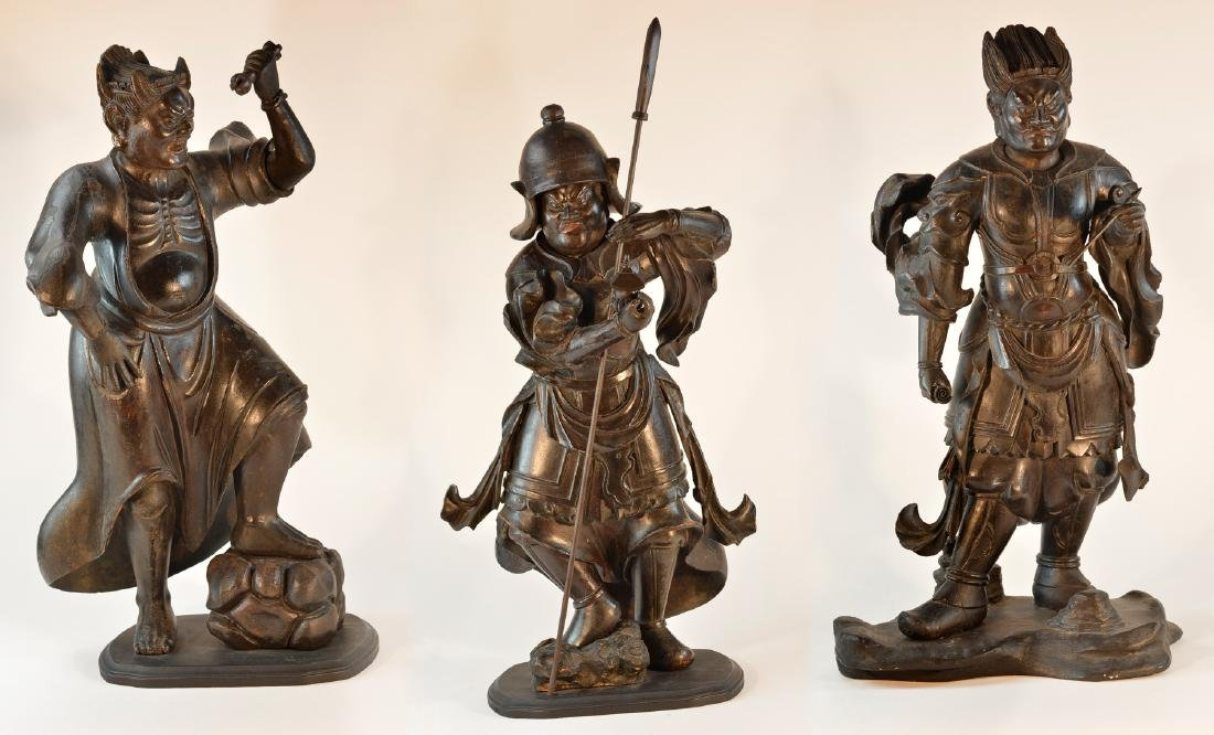 Important Set of Early Japanese Wooden Sculpture -