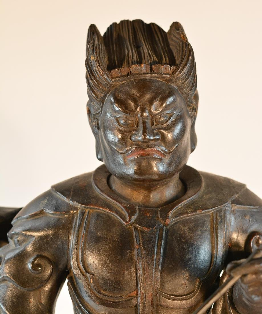 Important Set of Early Japanese Wooden Sculpture - - 7