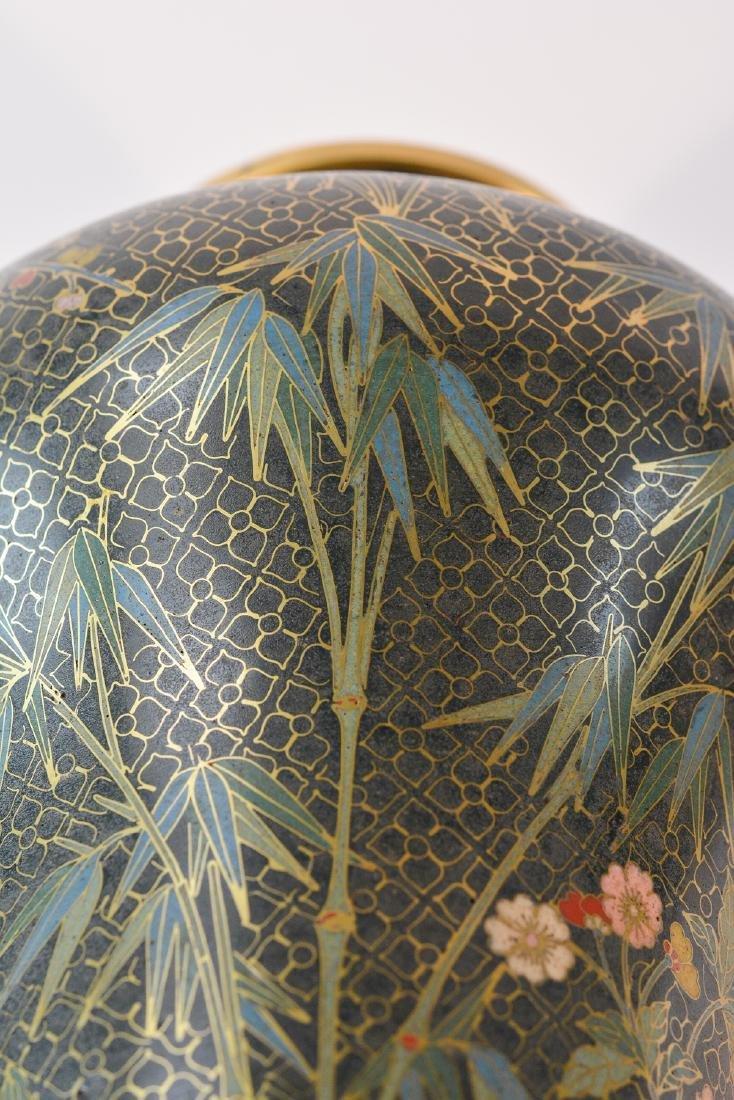 Pair Chinese Cloisonné Urn Shaped Vase - Signed De - 10