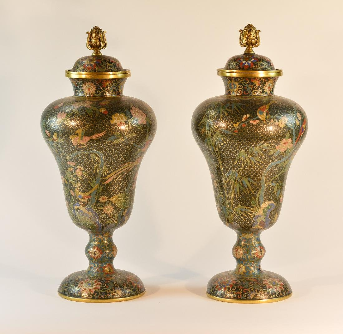 Pair Chinese Cloisonné Urn Shaped Vase - Signed De