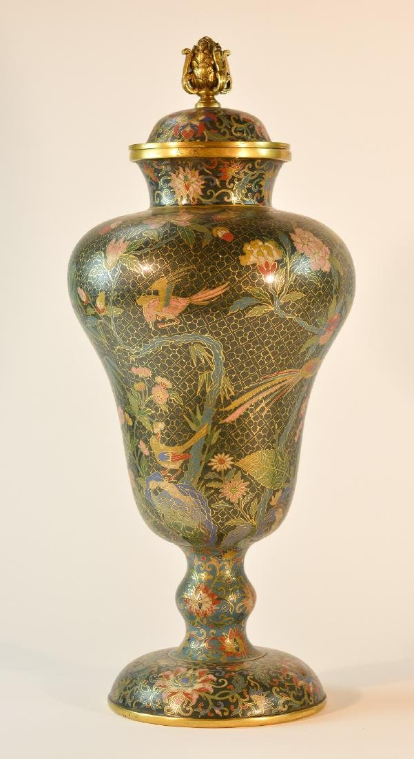 Pair Chinese Cloisonné Urn Shaped Vase - Signed De - 2
