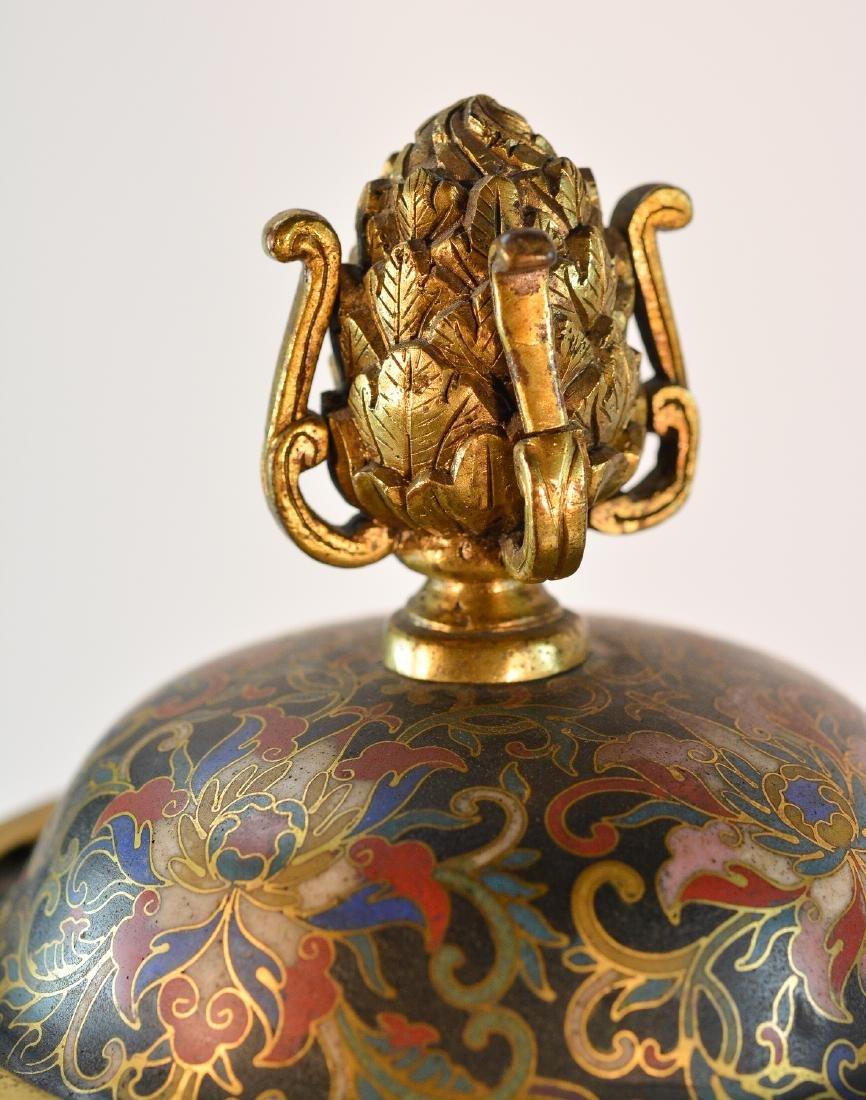 Pair Chinese Cloisonné Urn Shaped Vase - Signed De - 5