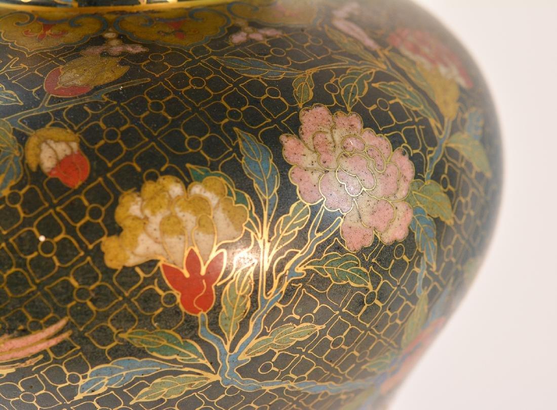 Pair Chinese Cloisonné Urn Shaped Vase - Signed De - 6