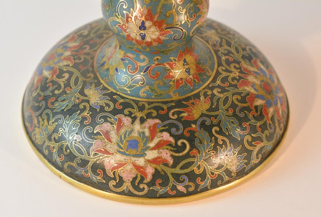 Pair Chinese Cloisonné Urn Shaped Vase - Signed De - 7