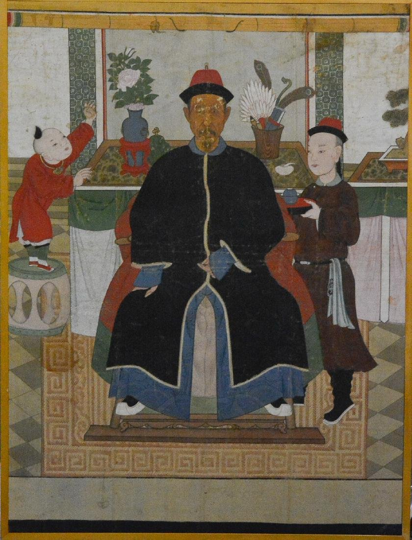 Large Chinese Scholar with Boy Scene Painting - On Silk