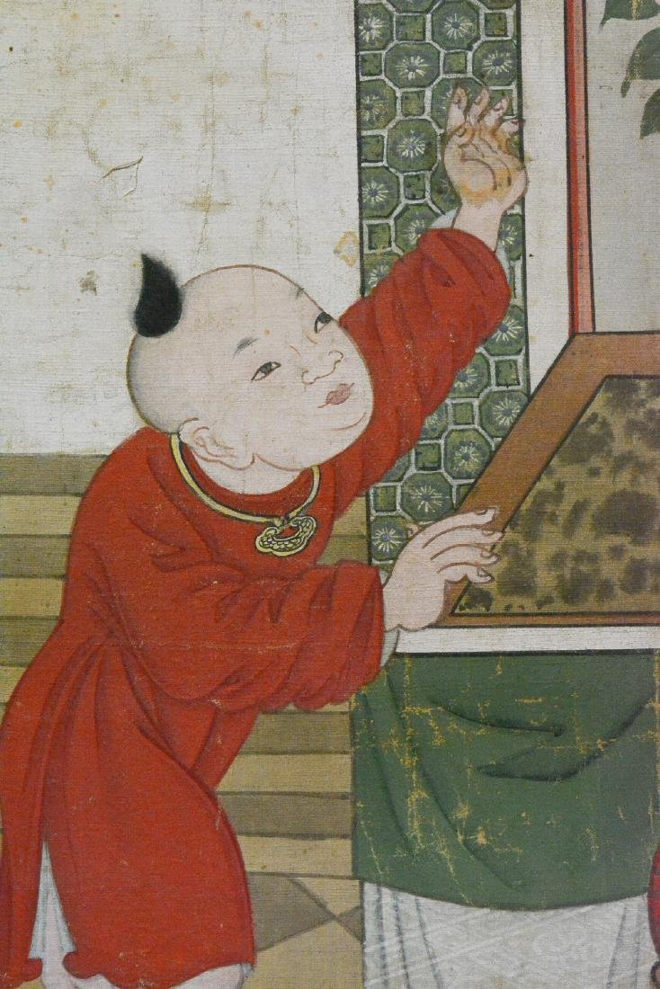 Large Chinese Scholar with Boy Scene Painting - On Silk - 3