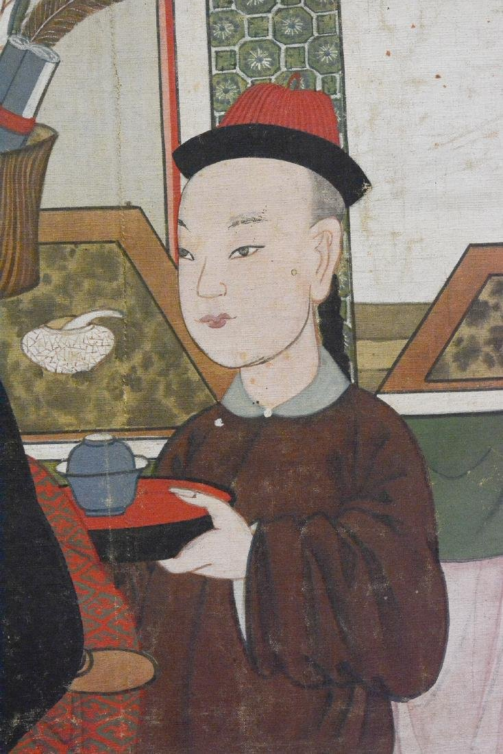 Large Chinese Scholar with Boy Scene Painting - On Silk - 4