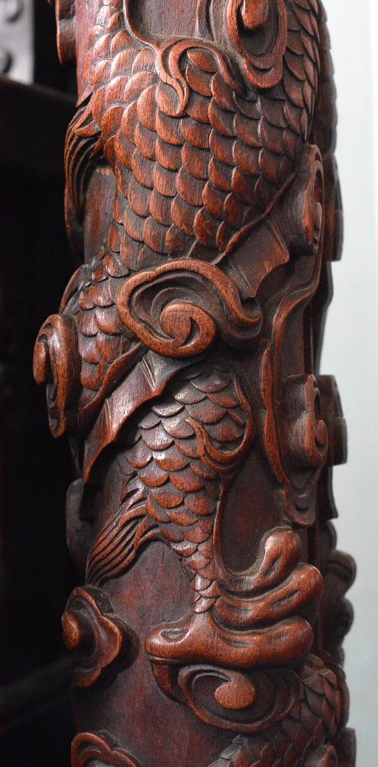 Chinese Heavily Caved Dragon Motif Floor Screen - 7
