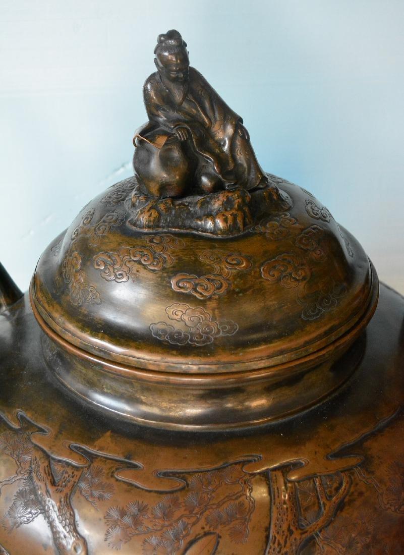 Large Japanese Bronze Censer - Samurai Scene