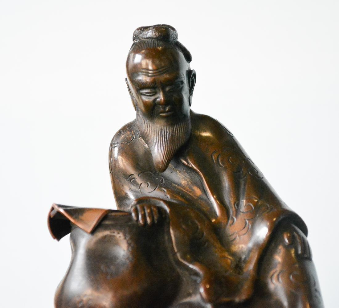 Large Japanese Bronze Censer - Samurai Scene - 2
