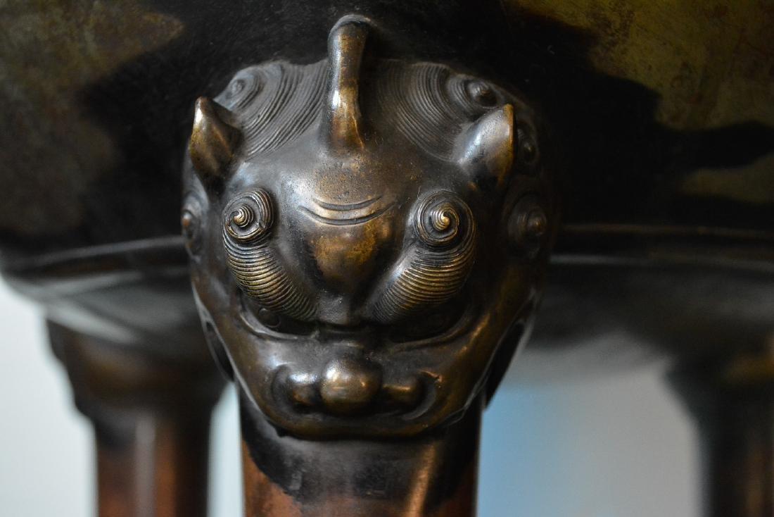 Large Japanese Bronze Censer - Samurai Scene - 3