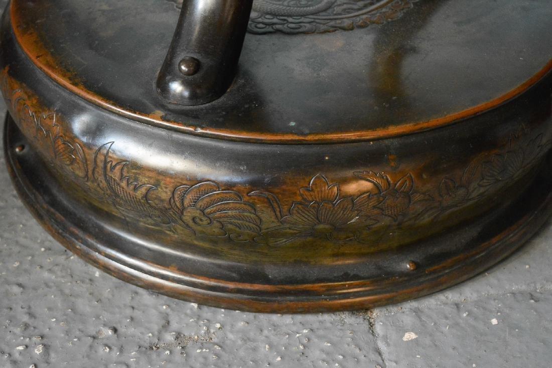 Large Japanese Bronze Censer - Samurai Scene - 5