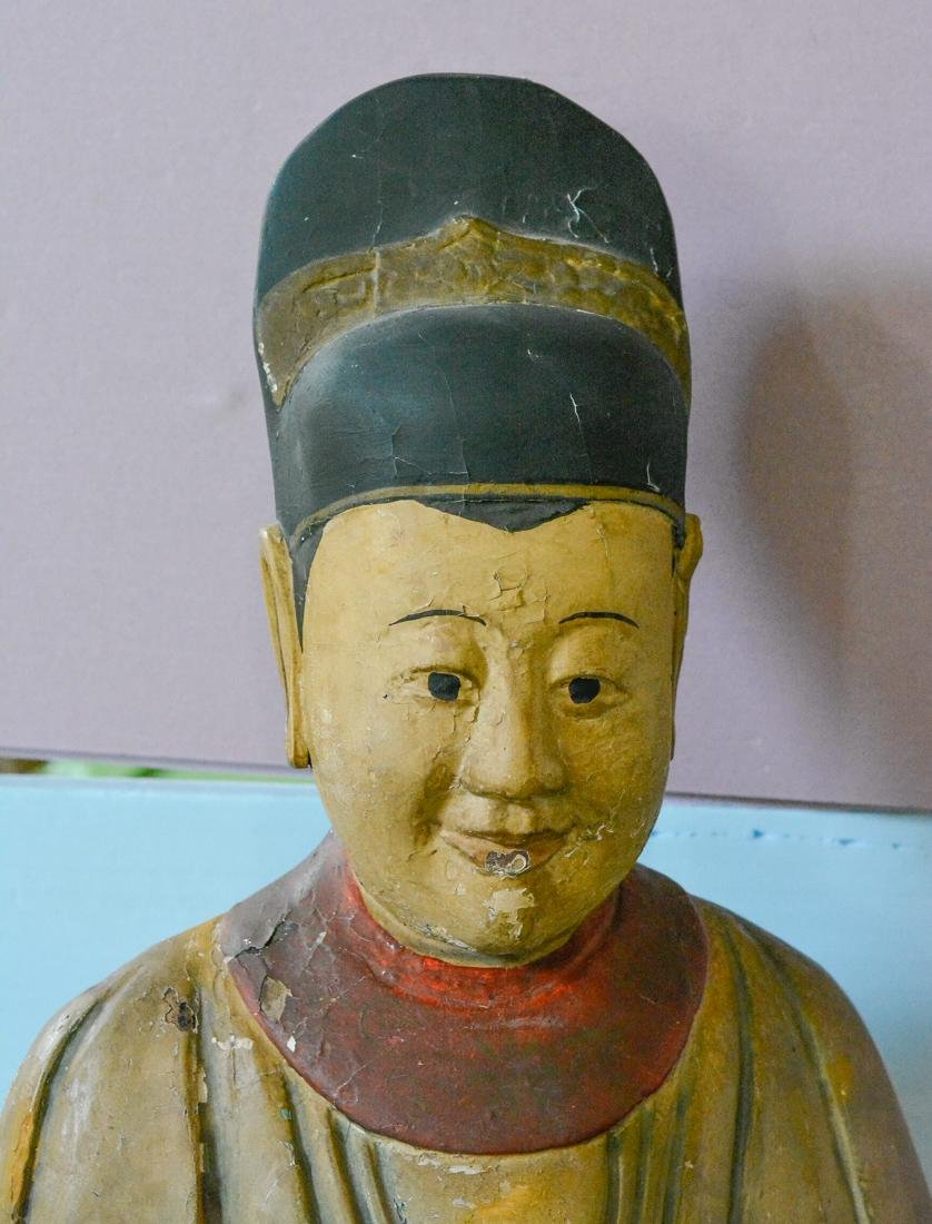 Chinese Large Lacquered Standing Wood Figurine - 2
