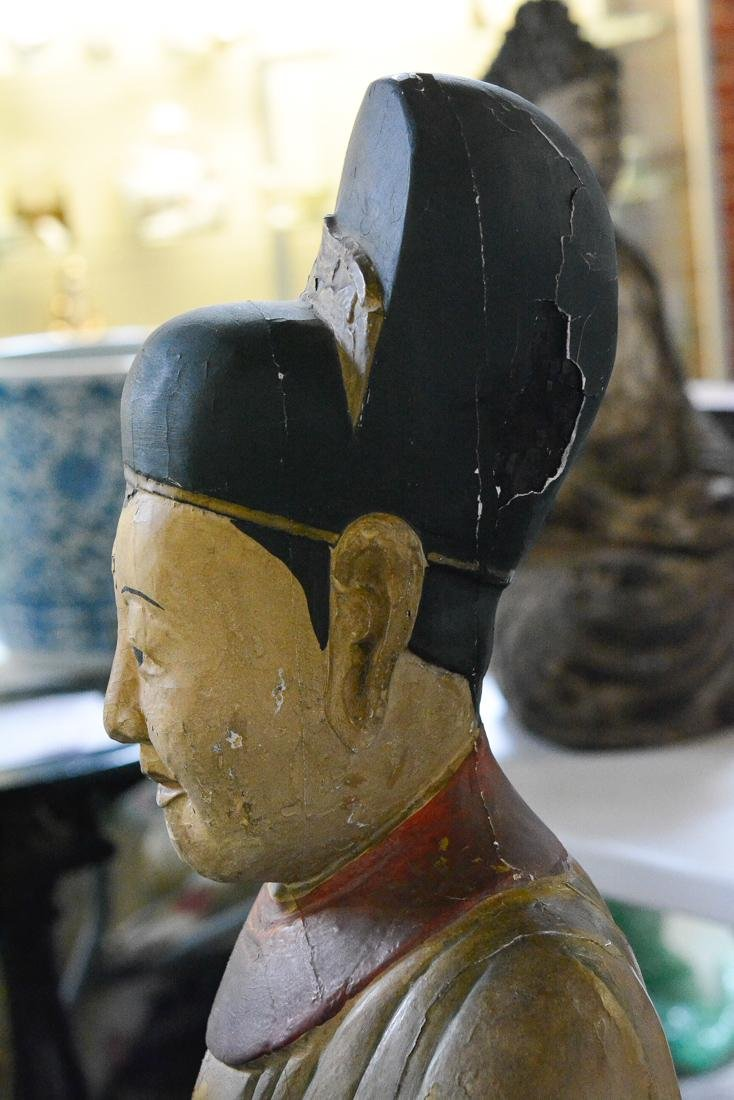 Chinese Large Lacquered Standing Wood Figurine - 9
