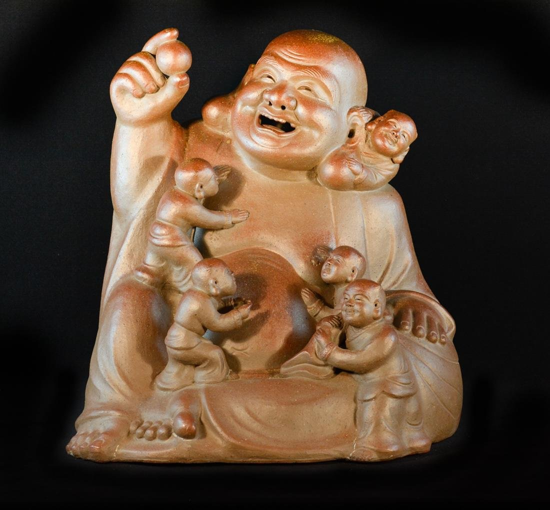 Large Oriental Clay Model of Happy Buddha with Five