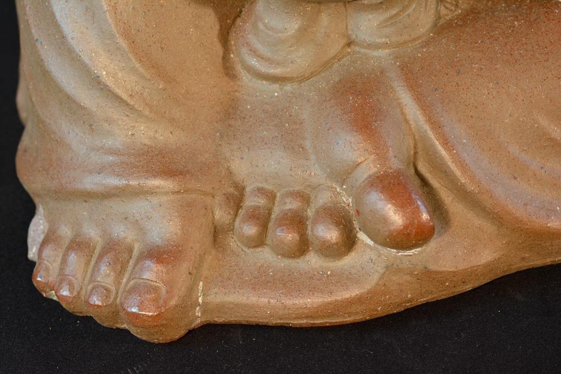 Large Oriental Clay Model of Happy Buddha with Five - 3