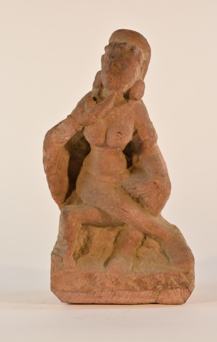 Antique  Indian Carved Red Sandstone Figurine