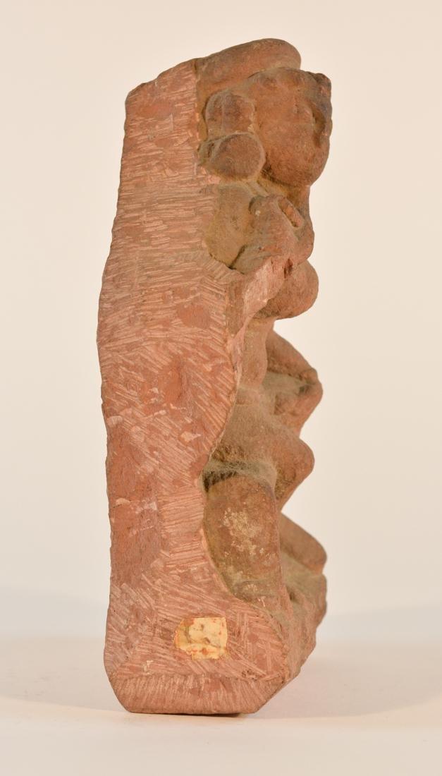 Antique  Indian Carved Red Sandstone Figurine - 4
