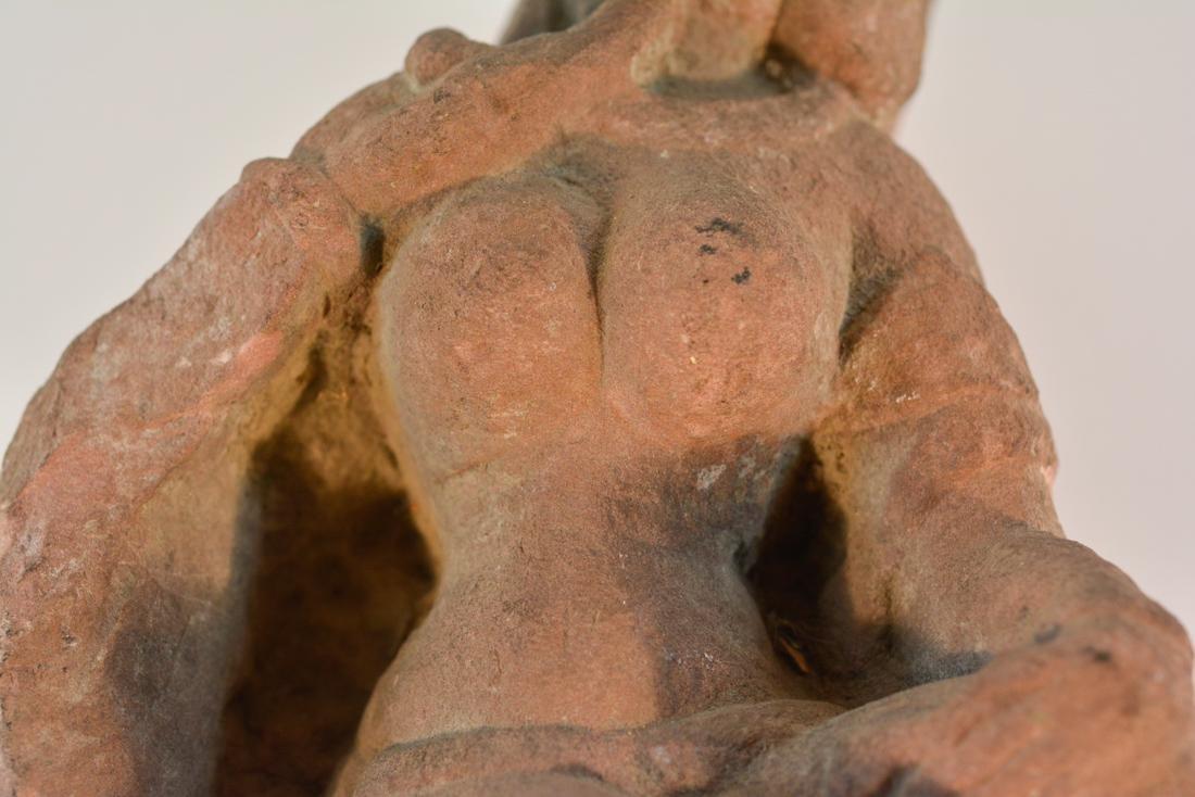 Antique  Indian Carved Red Sandstone Figurine - 7