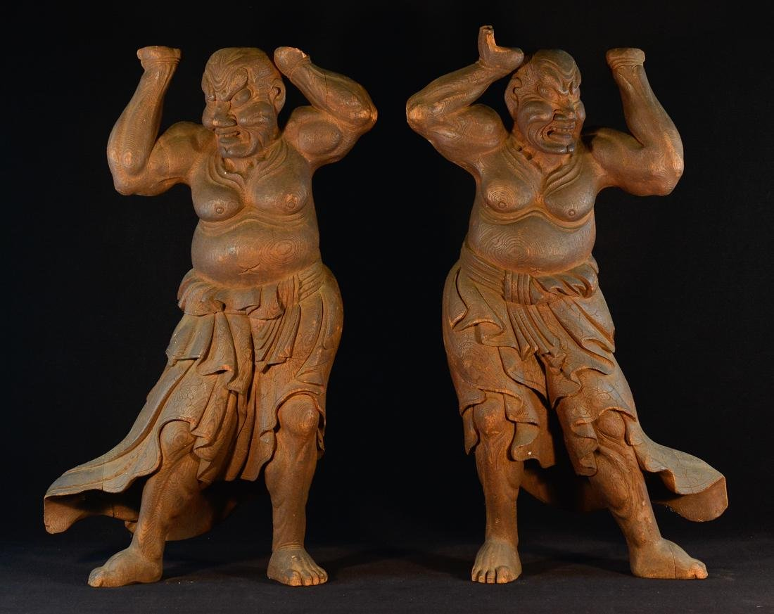 Pair Large Japanese Carved Wood Guardians